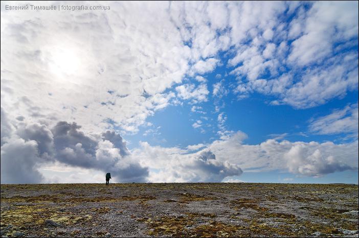Турист в Хибинах