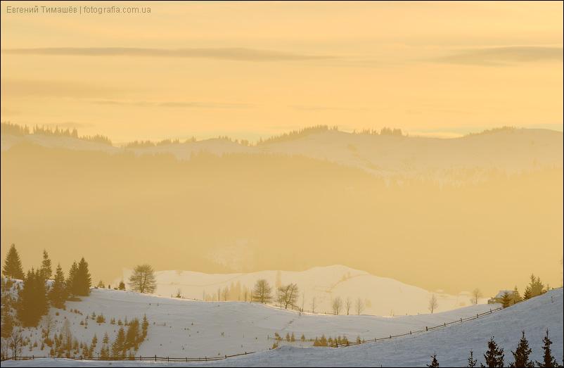 Золотой рассвет в Карпатах