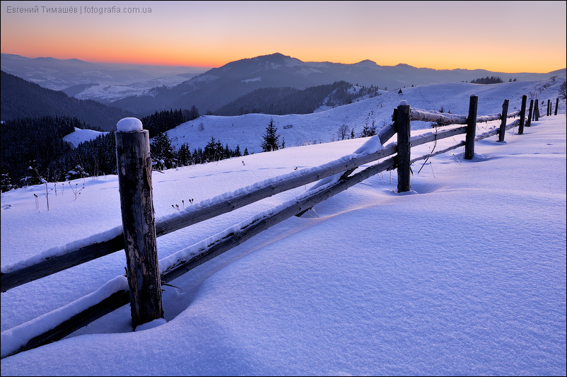Снежное утро в Карпатских горах