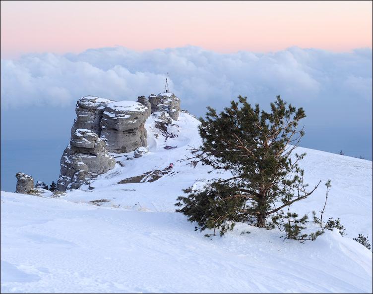 Крым, Демерджи, снег, закат