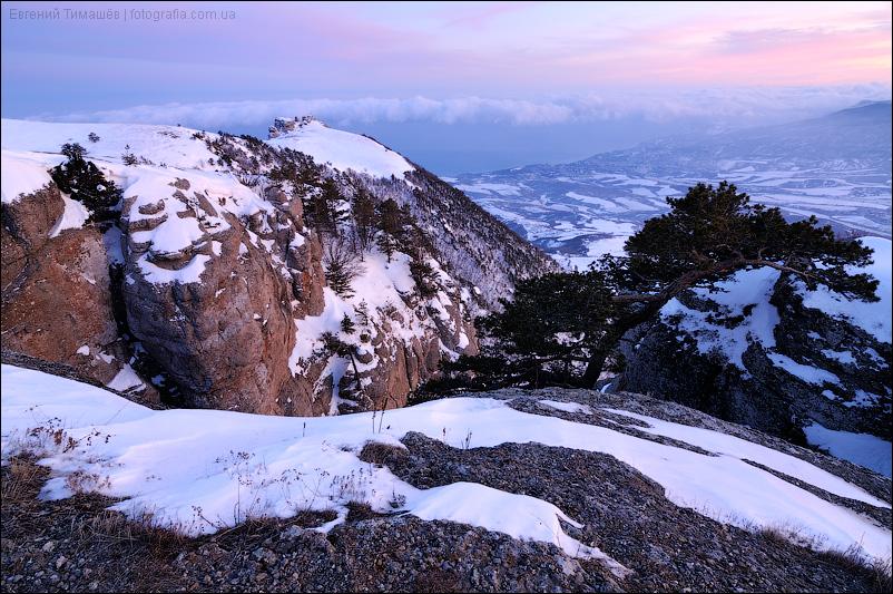 Крым, Демерджи, закат, зима