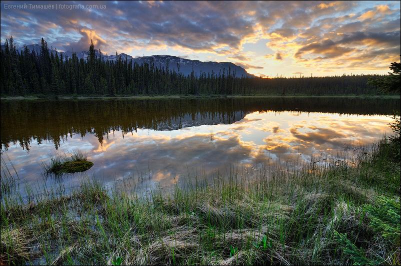 Канада, Джаспер, закат на озере