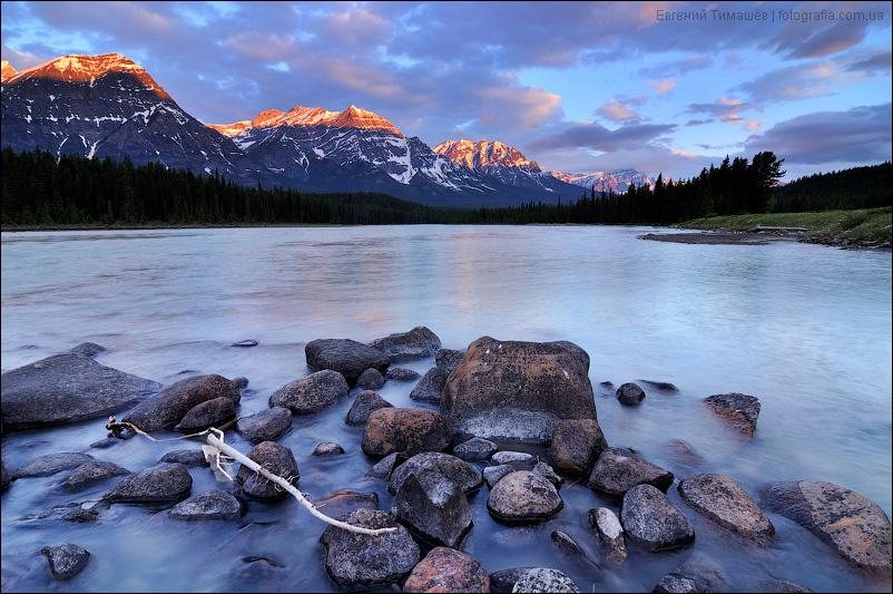 Озеро, рассвет, Канада, Джаспер