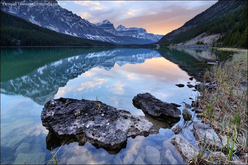 Банф, Канада, закат, озеро Вотерфоул