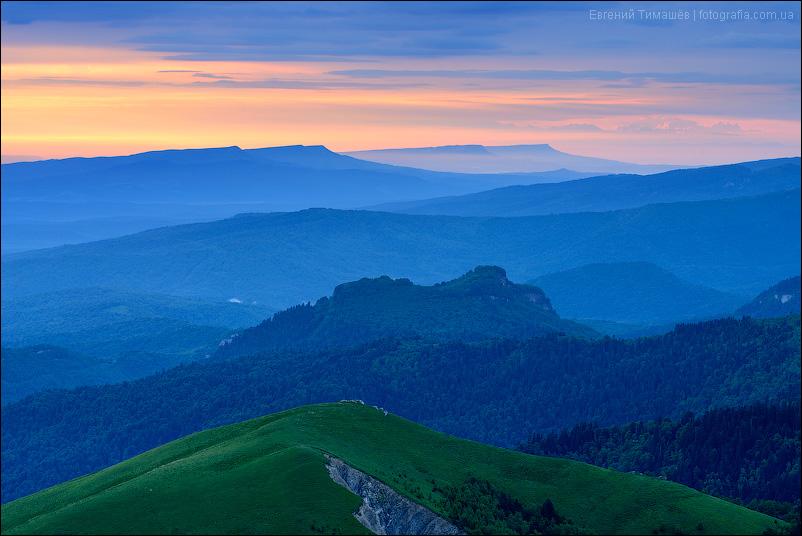 Кавказ, Большой Тхач, рассвет, сумерки