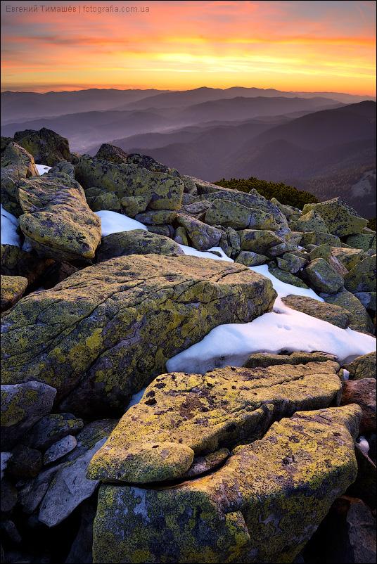 Карпаты, Хомяк, закат, горы
