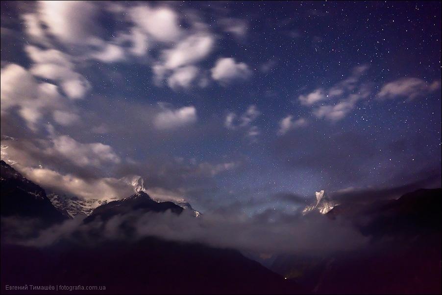 Непал, ночь, звезды, Гималаи