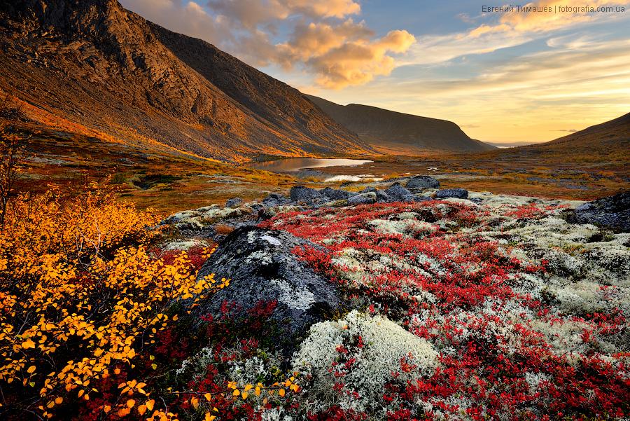 Хибины, долина реки Малая Белая, закат