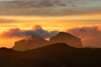 Кавказ, Тхач, горы, закат